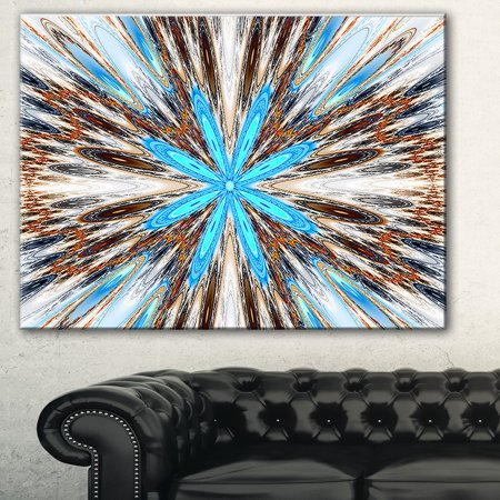 Rays Art Glass (DESIGN ART Flowers with Radiating Rays' Abstract Art Canvas Print - Blue)
