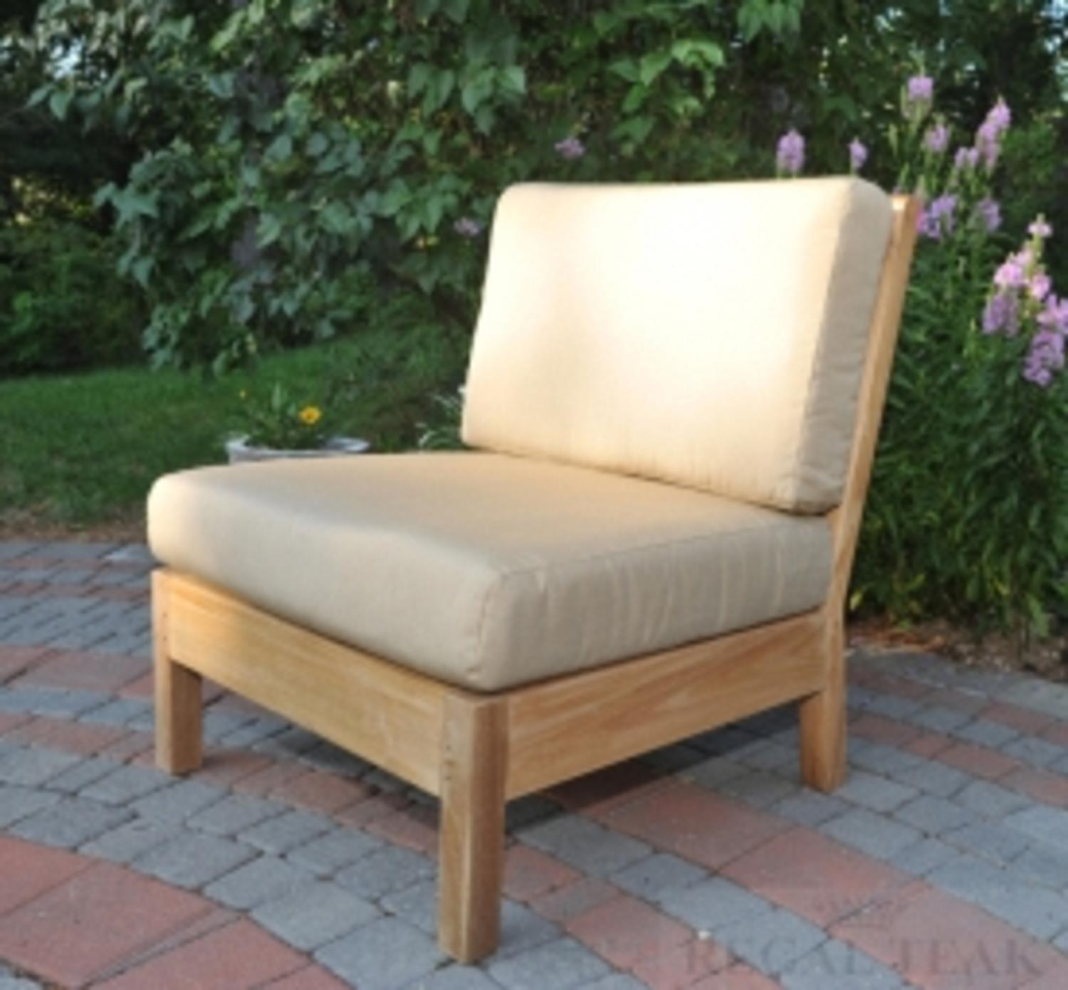 "35"" Natural Teak Sectional Center Seating Outdoor Patio Chair w/ Green Cushions"