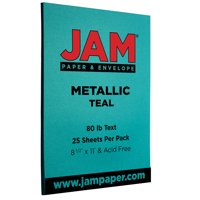 JAM Metallic Paper, 8.5 x 11, 32lb Teal, 25/Pack