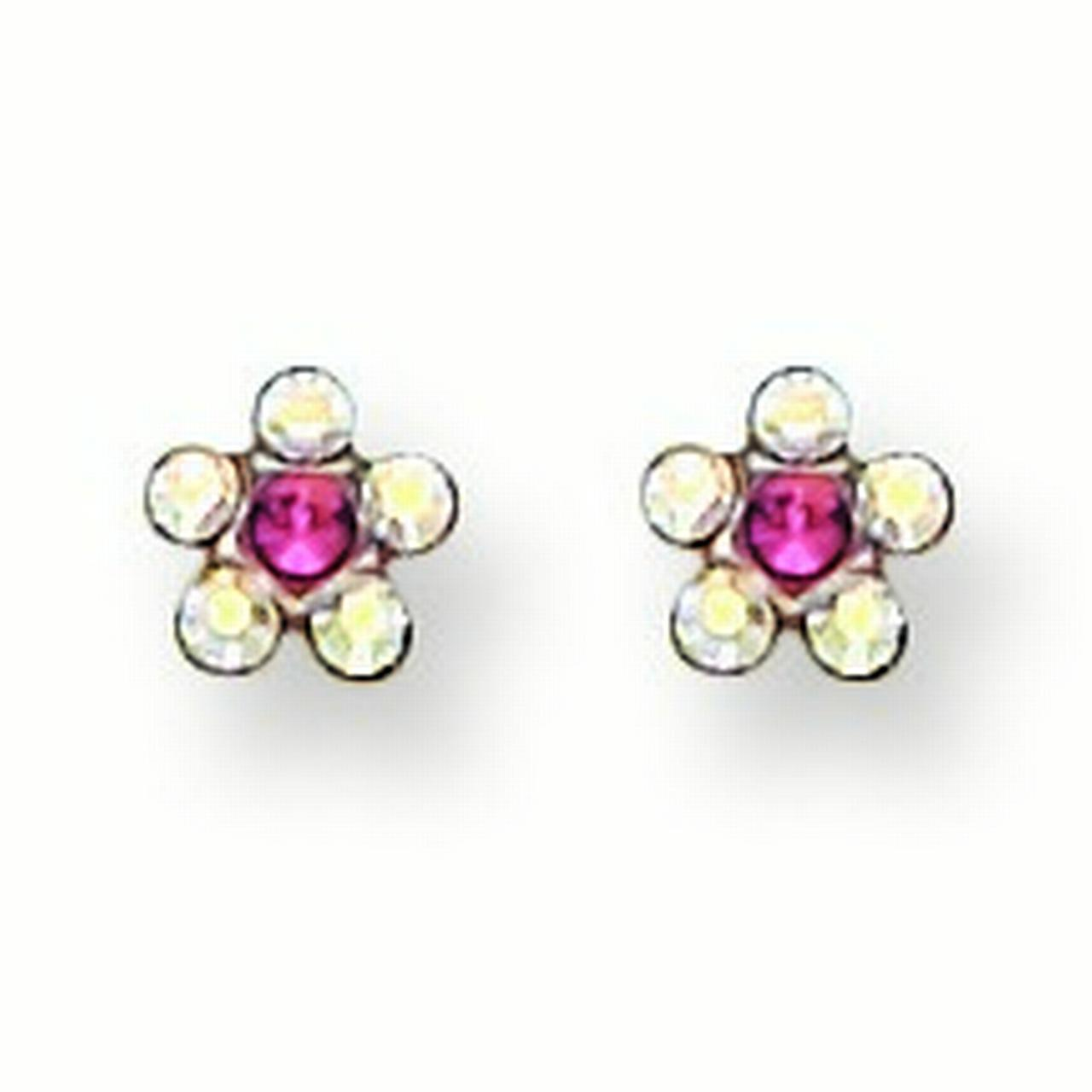 Stainless Steel Polished Clear and Rose Crystal Earrings