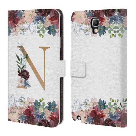 OFFICIAL NATURE MAGICK FLOWERS MONOGRAM FLORAL GOLD 2 LEATHER BOOK WALLET  CASE COVER FOR SAMSUNG PHONES 2