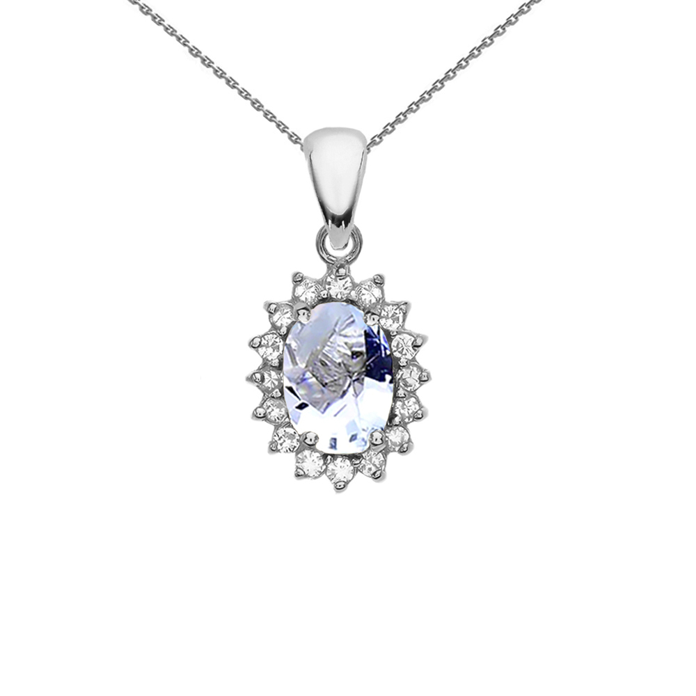 Diamond And March Birthstone Aquamarine White Gold Elegant Pendant Necklace by
