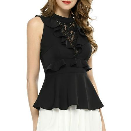 Women's Floral Lace Insert Ruffle Cut-out Back Halter-neck Sleeveless Layering Peplum Top