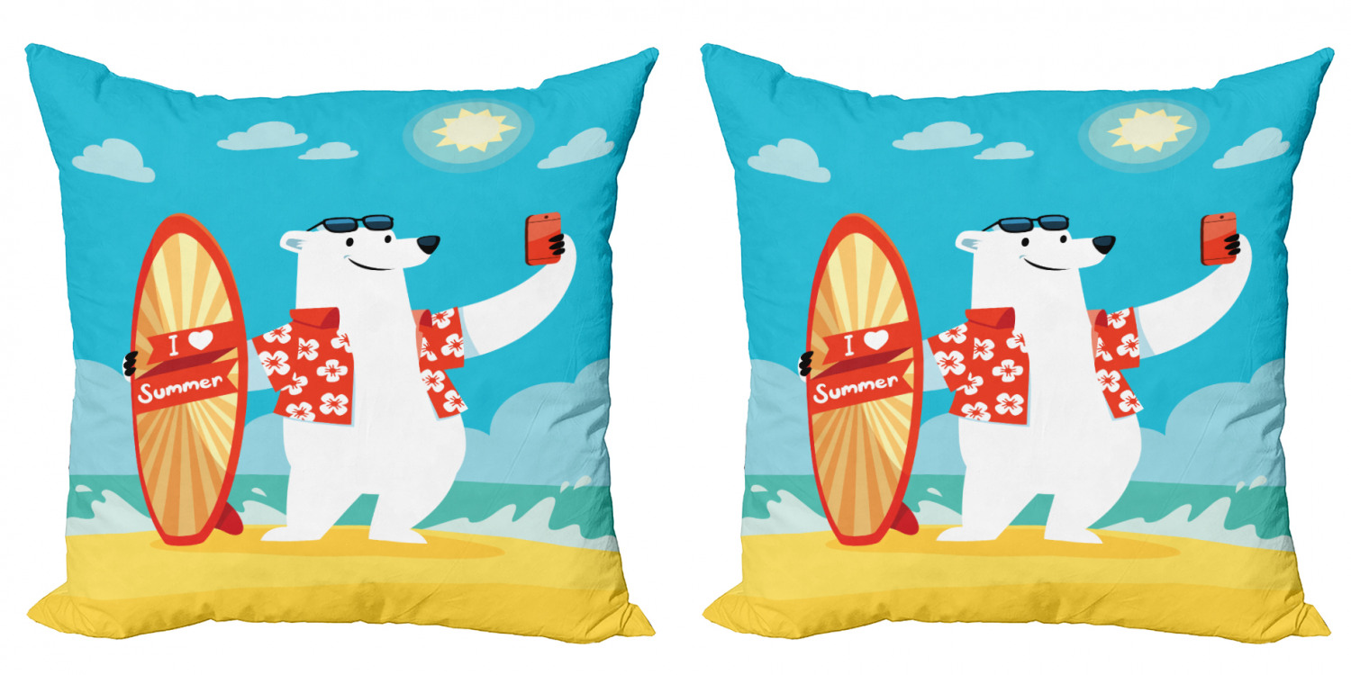 Sea Animals Throw Pillow Cushion Cover Pack Of 2 Polar Bear With I Love Summer Surfboard Taking Selfie At Beach Comic Fun Art Zippered Double Side Digital Print 4 Sizes Aqua Yellow By