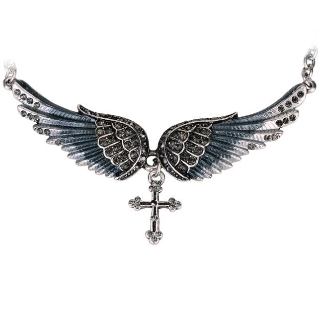 Body Colorz Angel Wing Cross Choker Necklace Guardian Women Biker