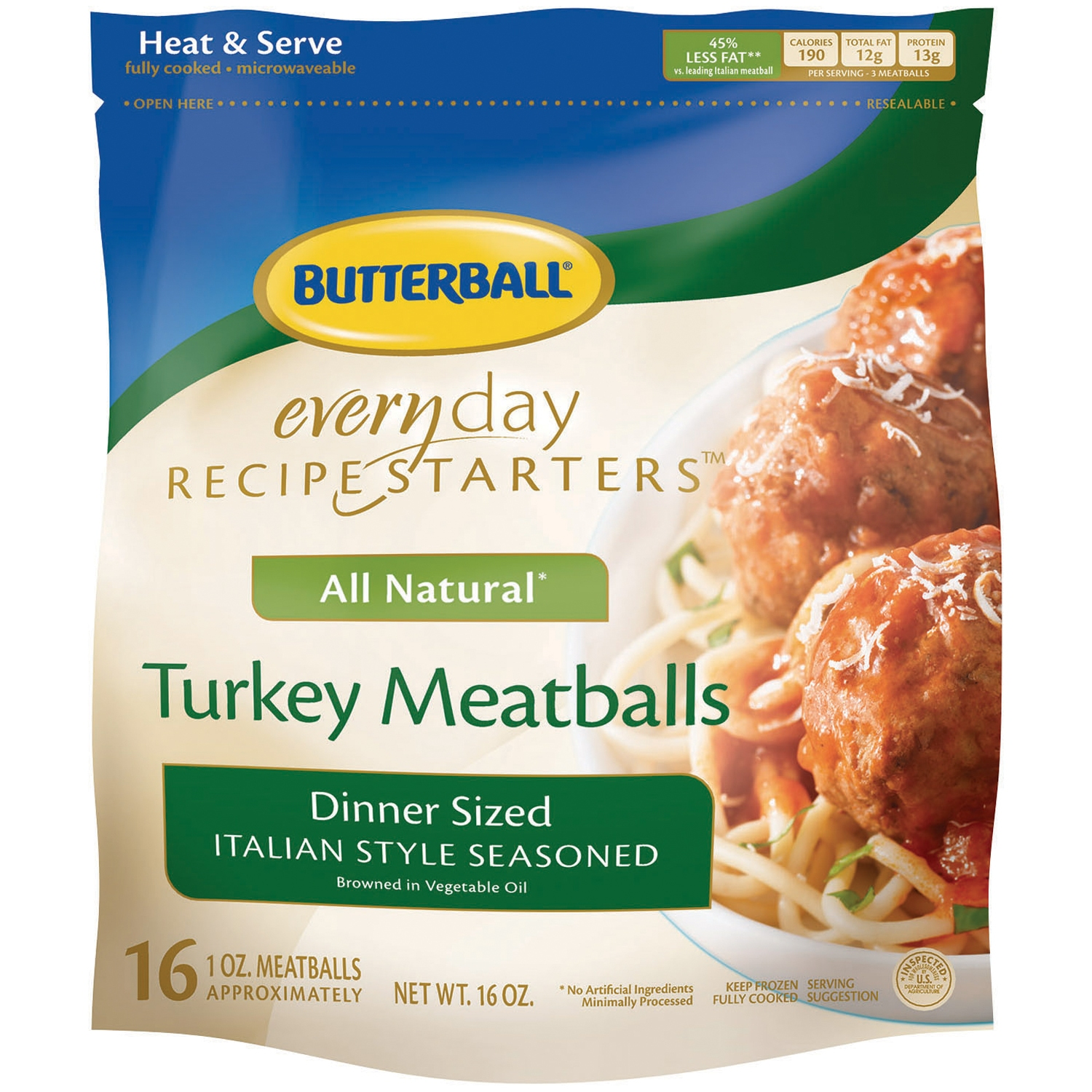 Butterball® Everyday Recipe Starters™ Dinner Sized Italian Style Seasoned Meatballs 16 oz. Bag