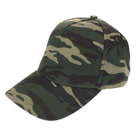 Mens Low Crown 5 Panel Camouflage Twill Baseball Cap Green Camo