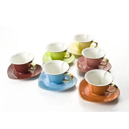 Yedi Housewares 6.5 Ounce Inside Out Heart Cup and Saucer, Set of 6, Multi Color ()