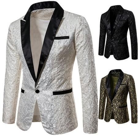 Men's Casual Slim Fit One Button Suit Blazer Business Work Coat Jacket Outwear White S (White Men Blazer Jacket)