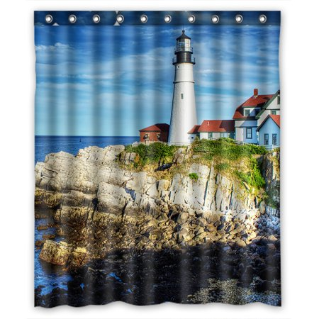 ZKGK Lighthouse Of The Beach Waterproof Shower Curtain Bathroom Decor Sets With Hooks 60x72 Inches