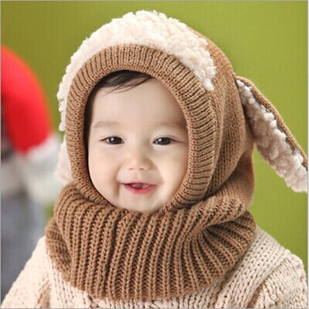 8230932af Winter Baby Kids Girls Boys Warm Woolen Coif Hood Scarf Caps Hats