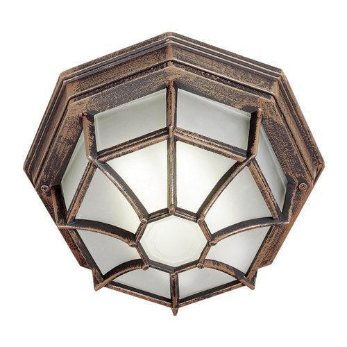 Trans Globe Lighting  PL-40582  Ceiling Fixtures  Wagon Wheel  Outdoor Lighting  Flush Mount  ;Rust