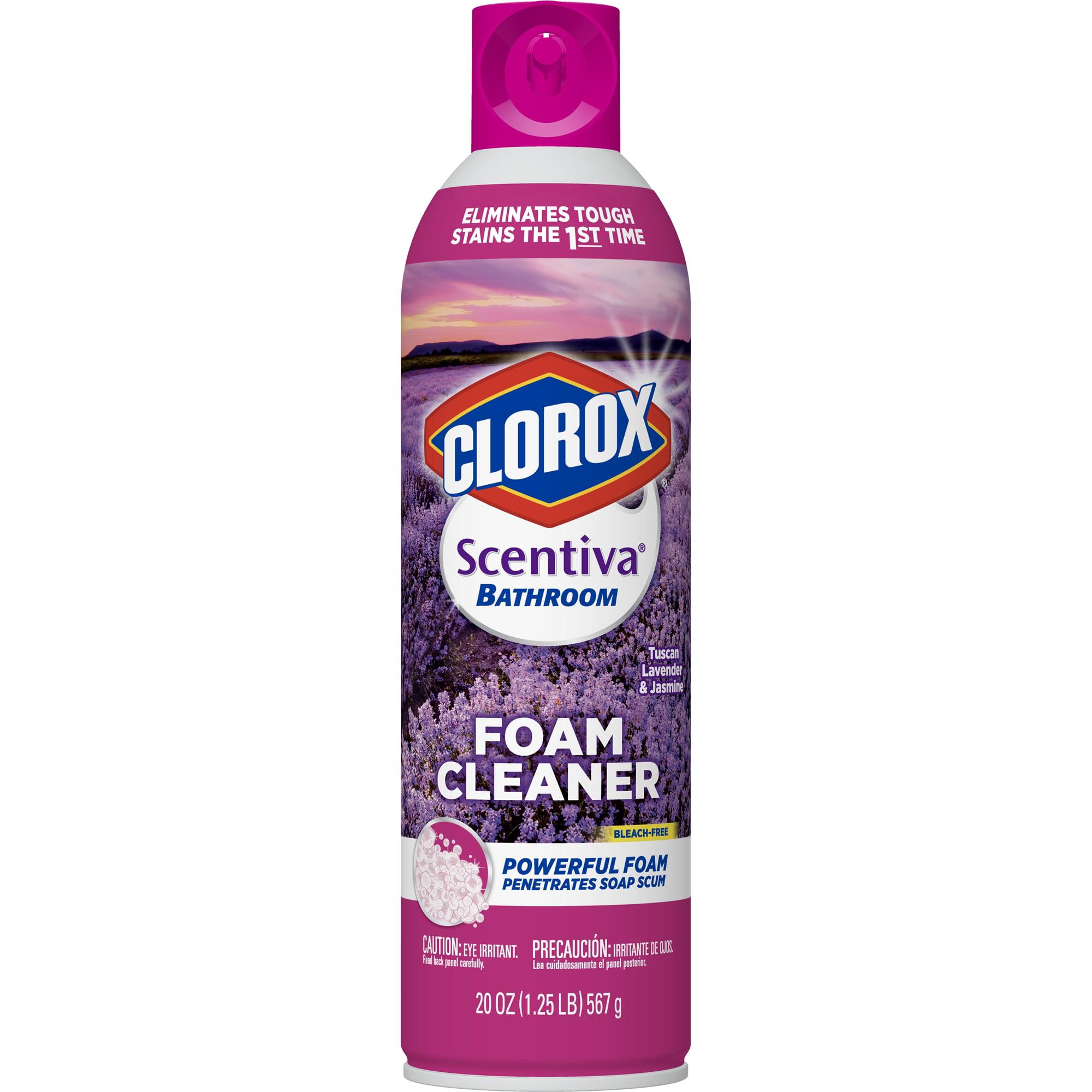 Clorox Scentiva Bathroom Foam Cleaner - Foaming Aerosol Multi-Surface Cleaner - Tuscan Lavender Jasmine - 20 oz