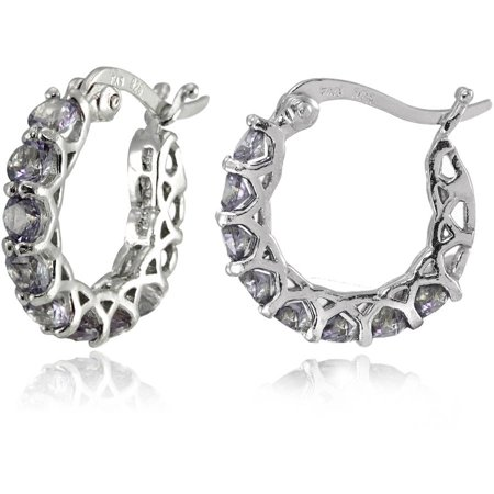 ad75cc95c Simulated Alexandrite Sterling Silver Small Round Huggie Hoop Earrings -  Walmart.com