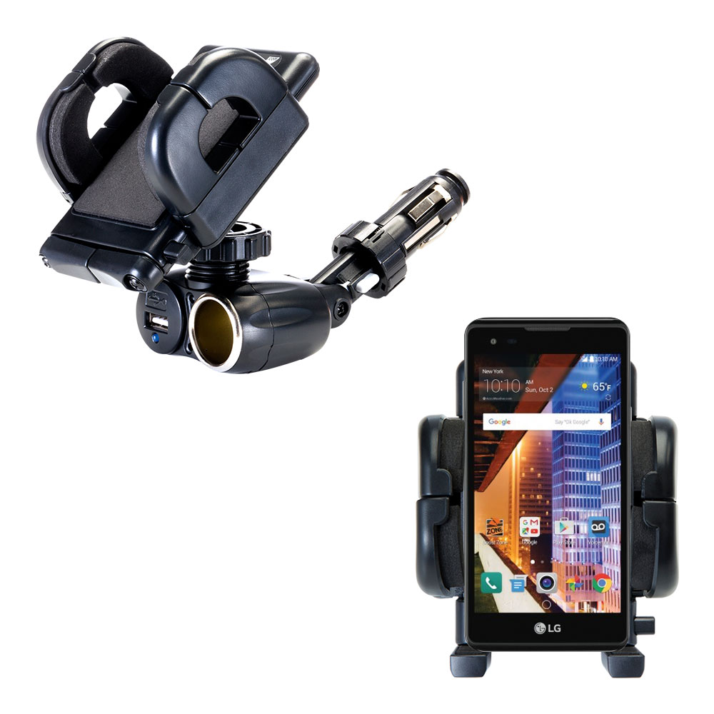 Dual USB / 12V Charger Car Cigarette Lighter Mount and Holder for the LG Tribute HD