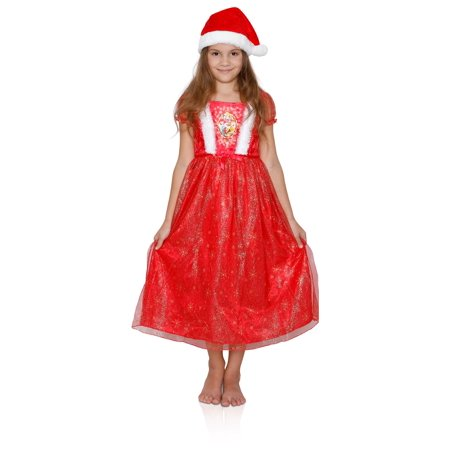 Disney Girls' Fantasy Nightgowns, Dressy Holiday Gowns, Princess Dress With a Hat, Size: - Dress Up As A Disney Character