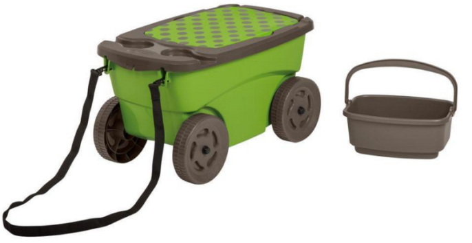 ... UPC 044365024004 Product Image For Suncast Rolling Garden Scooter Seat  Cushion Tool Storage Cart Drink Holder