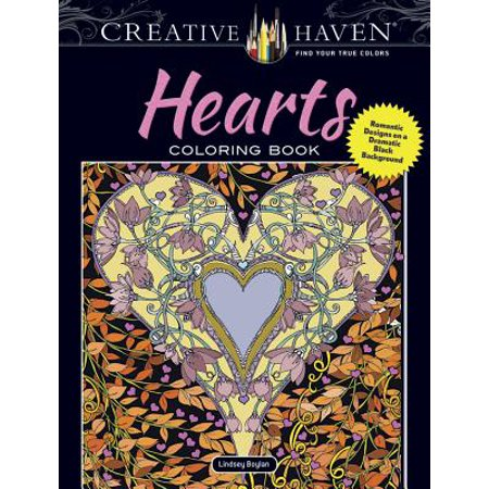 Creative Haven Hearts Coloring Book : Romantic Designs on a Dramatic Black Background (Haven Girl Heart)