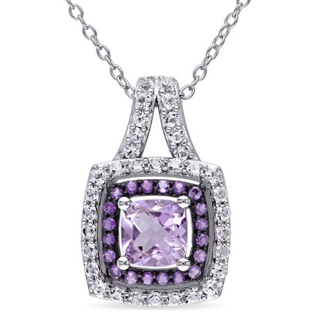 Tangelo 3-1/2 Carat T.G.W. Rose de France and Created White Sapphire with Amethyst Sterling Silver Dual Halo Pendant, 18