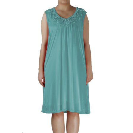 Women's Nightgowns8 Satin Silk Sleeveless Lingerie Nightgown By EZI ()