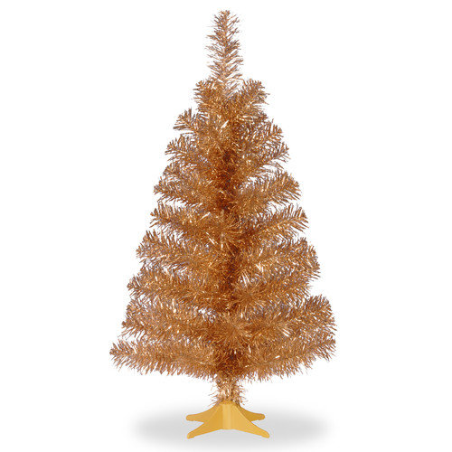 National Tree Co. Tinsel Trees 3'' Champagne Artificial Christmas Tree and Stand