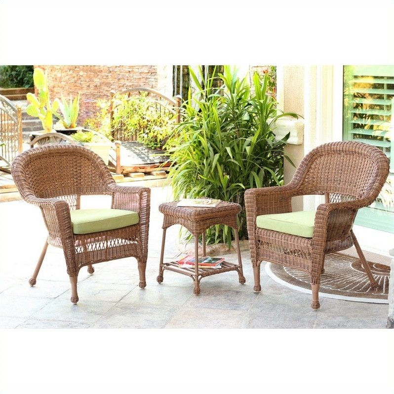 Jeco 3pc Wicker Chair and End Table Set in Honey with Green Chair Cushion by Jeco Inc.