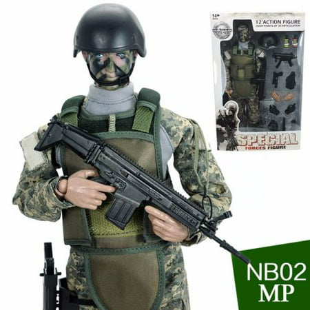 Green Camo Ultra Detailed Military Combat Action Figure