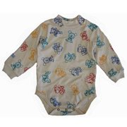 Baby Girls Bone White Mickey Mouse Print Long Sleeve Bodysuit 12-24M