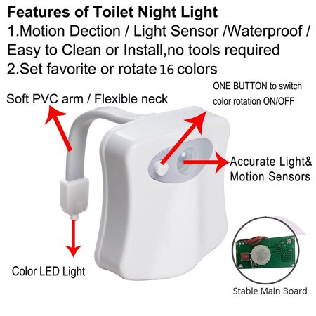 Toilet Night Light, 16-Color Led Motion Activated Toilet Light,Mode Motion Sensor LED Bathroom Night Light (White, No Include 3 AAA Batteries) - image 5 of 9