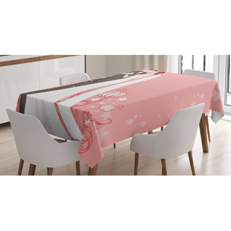 Wedding Decorations Tablecloth, Bride and Groom Getting Married Dancing on Pink Floral Background, Rectangular Table Cover for Dining Room Kitchen, 52 X 70 Inches, Pink Back White, by Ambesonne - Bride And Groom Table
