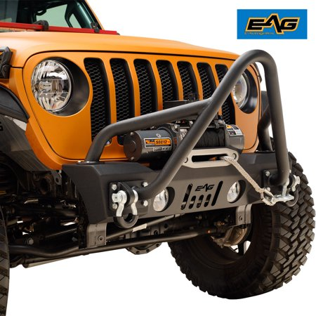 EAG Off Road Stinger Front Bumper Stubby with Winch Plate for 18-19 Jeep JL Wrangler