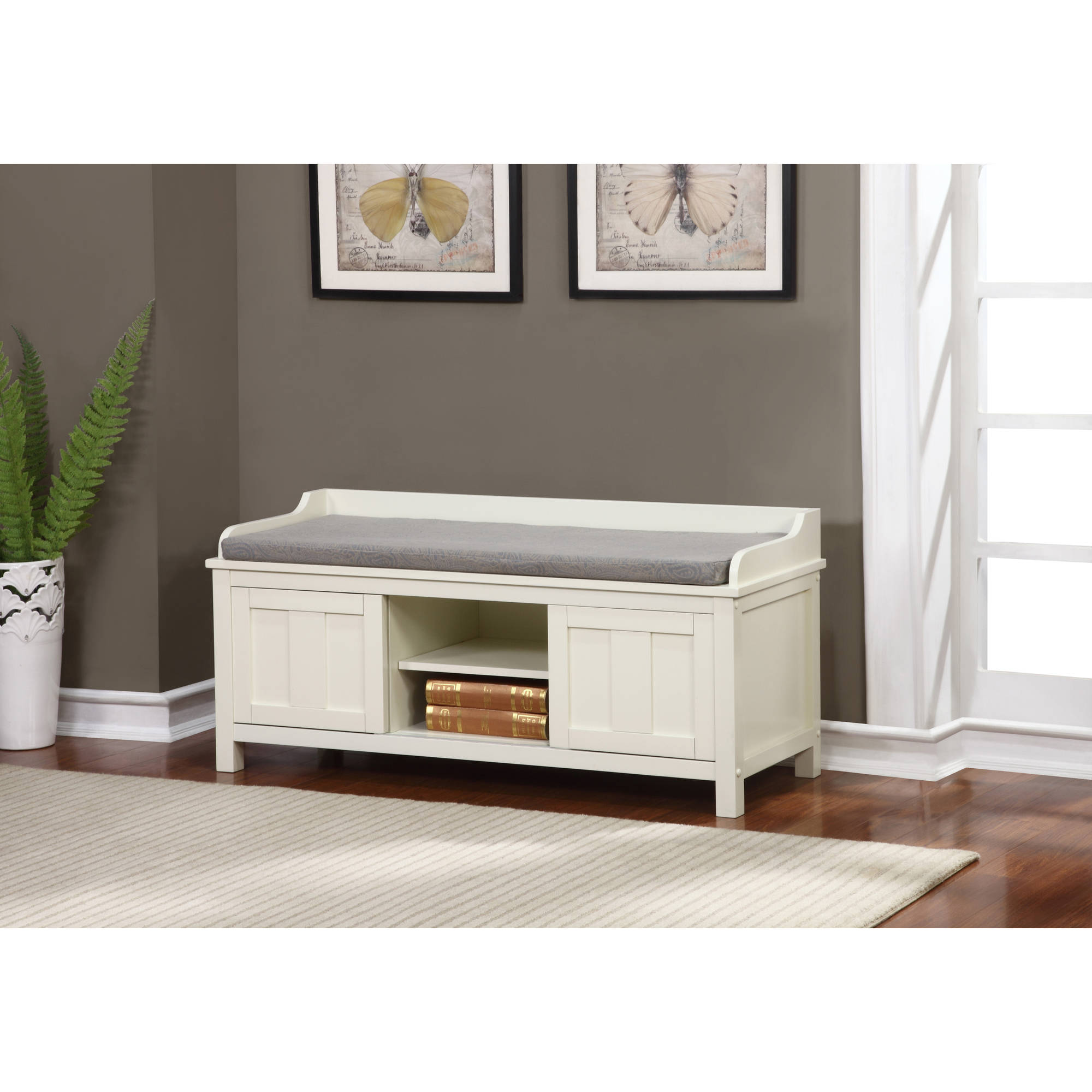 Lakeville White Storage Bench 18.75 inches Seat Height  sc 1 st  Walmart & Lakeville White Storage Bench 18.75 inches Seat Height - Walmart.com