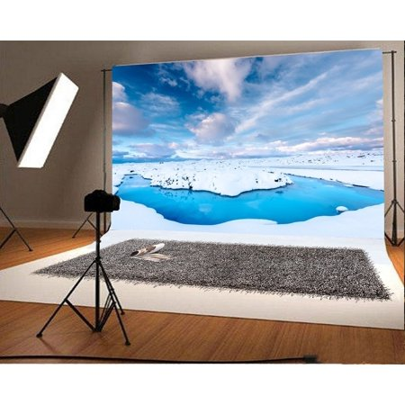 EREHome Polyester Fabric 7x5ft Glacier Backdrop Christmas Snow Covered Landscape Blue Sky White Cloud Nature Winter Happy New Year Photography Background Kids Children Adults Photo Studio Props - image 1 de 3