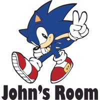 Sonic the Hedgehog Classic Video Game Customized Wall Decal - Custom Vinyl Wall Art - Personalized Name - Baby Girls Boys Kids Bedroom Wall Decal Room Decor Wall Stickers Decoration Size (30x30 inch)