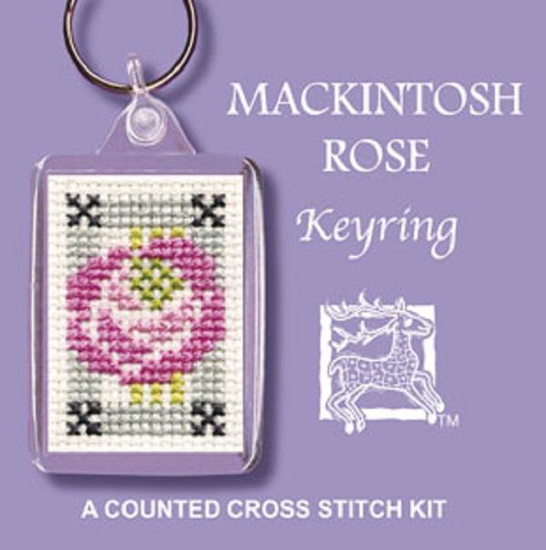 Textile Heritage Keyring Counted Cross Stitch Kit - Mackintosh Rose