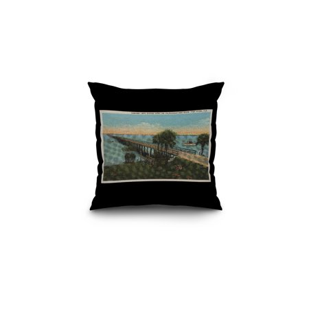Ft. Lauderdale, FL - Tamiami Trail Bridge (16x16 Spun Polyester Pillow, Black (Tamiami Trail Sarasota Fl)
