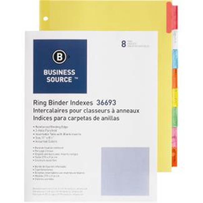 Business Source BSN36693BX Insertable Tab Ring Binder Indexes - 8 Blank Tab