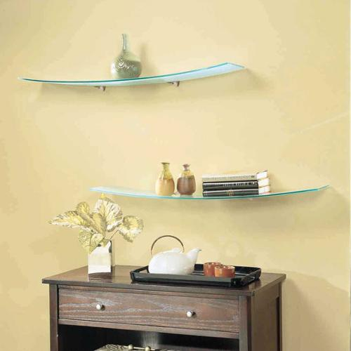 LTL Home Products Concavo Clear Glass 8-inch x 40-inch Shelf Kit with Brackets