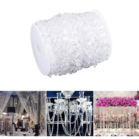 - Qiilu 99 Ft Acrylic Clear Diamond Garland Strands Crystal Beads By The Roll For Home Christmas Decoration Wedding Decorations