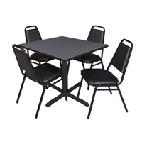 "Cain 42"" Square Breakroom Table Multiple Colors and 4 Black Restaurant Stack Chairs, Multiple Colors"