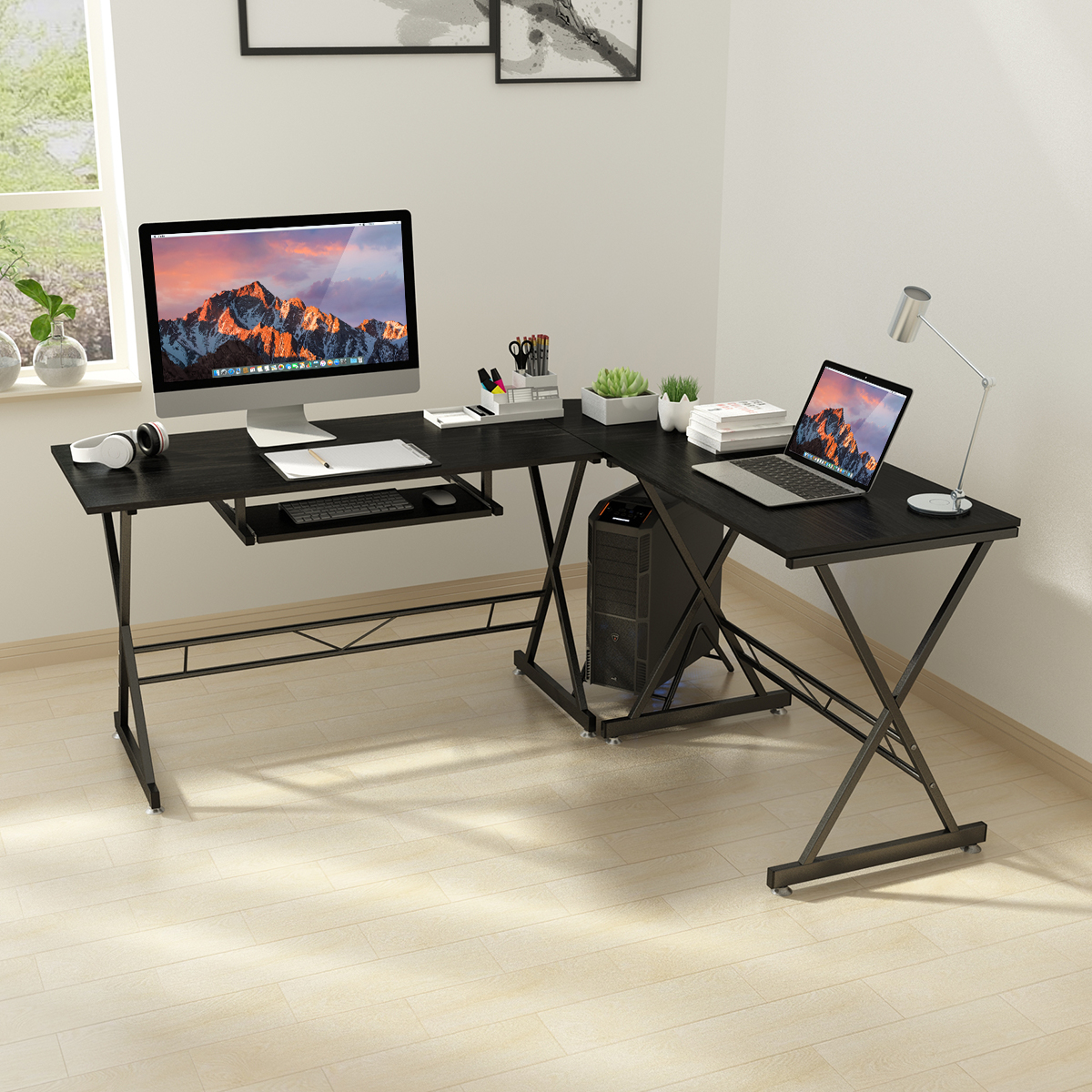 SLYPNOS L Shaped Computer Desk Corner Desk Glass Portable PC/PC Gaming  Table Workstation with Easy-Glide Keyboard Tray and Free-Standing CPU  Stand, ...