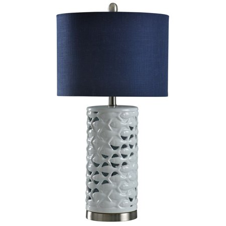 School of Fish Cylindrical Table Lamp - White, Silver, Sand - Navy Blue ()