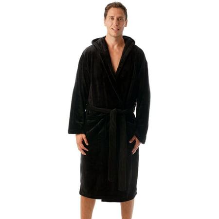 Black Monk Robe (#followme Ultra Soft Velour Robe for Men with Hood (Black,)