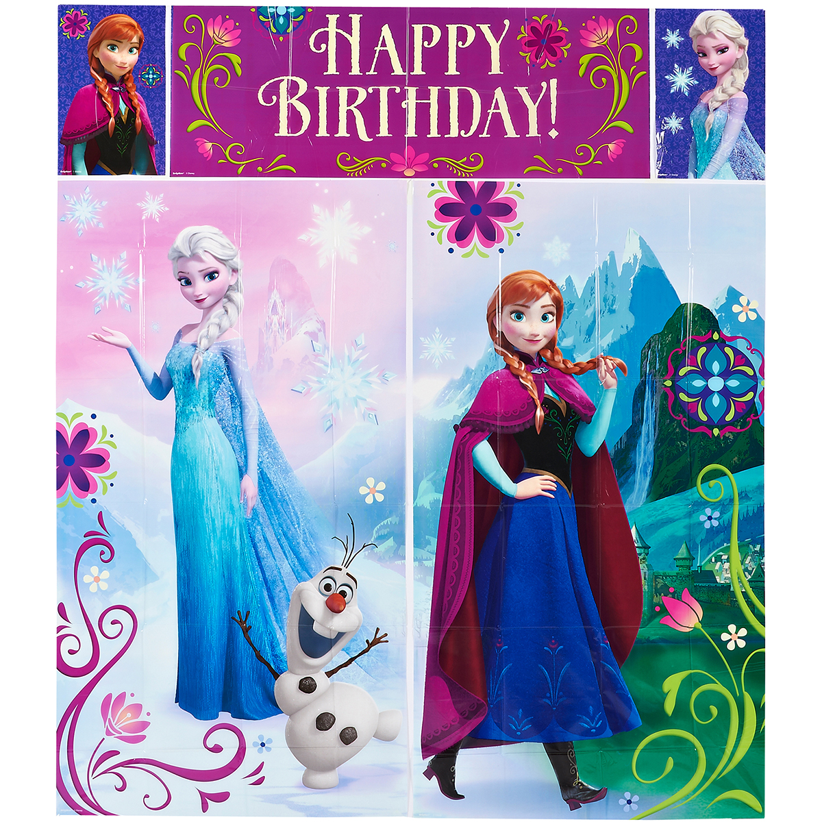 Disney Frozen Birthday Party Scene Setters Wall Decorating Kit, 5pc