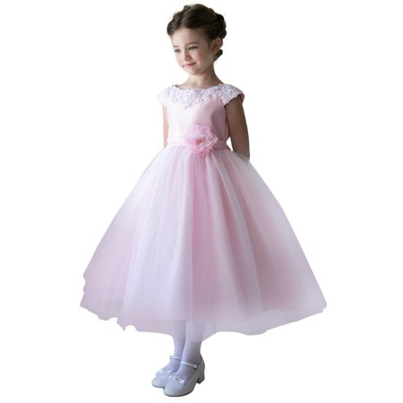 Efavormart Lustrous Satin and Tulle Dress with Crochet Trim and Flower Birthday Girl Dress Junior Flower Girl Wedding Party Dress - Girl Dresses For Party