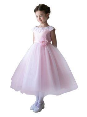Product Image Efavormart Lustrous Satin and Tulle Dress with Crochet Trim and  Flower Birthday Girl Dress Junior Flower 52b862bac26f