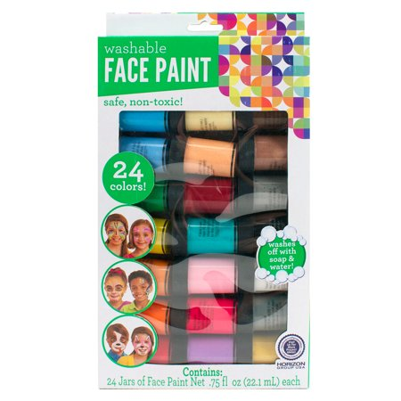 Horizon Group USA Kids Crafts Face Paint Jars, 24 Count - Easy Face Painting For Kids