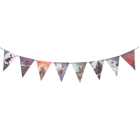 3 Meters DIY Halloween Bunting Banners Castle Spider Witch Pumpkin Pattern Garland Flags Pennants Halloween Decoration Bar House Party Patio Indoor Outdoor Decorative Hanging Ornaments