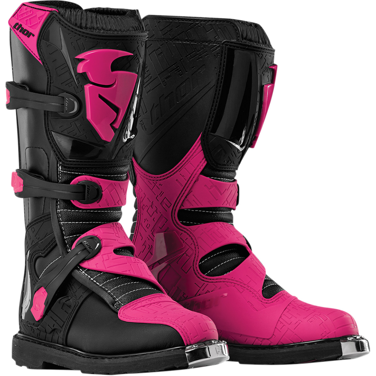 Thor Blitz Boot Offroad (Multi Black/Pink, USA SIZE 5)