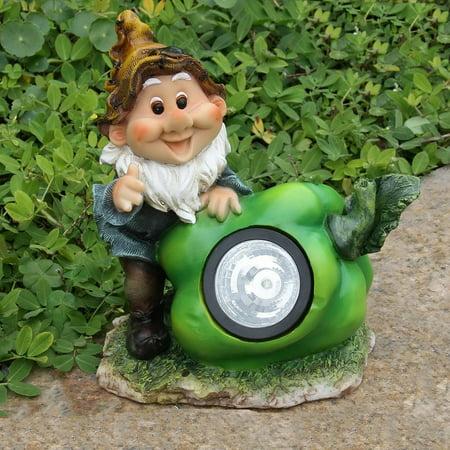 SINTECHNO Cute Gnome with Green Pepper Solar Light Garden Statue
